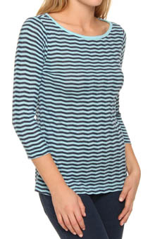Three Dots Chevron Stripe 3/4 Sleeve British Tee GV4001