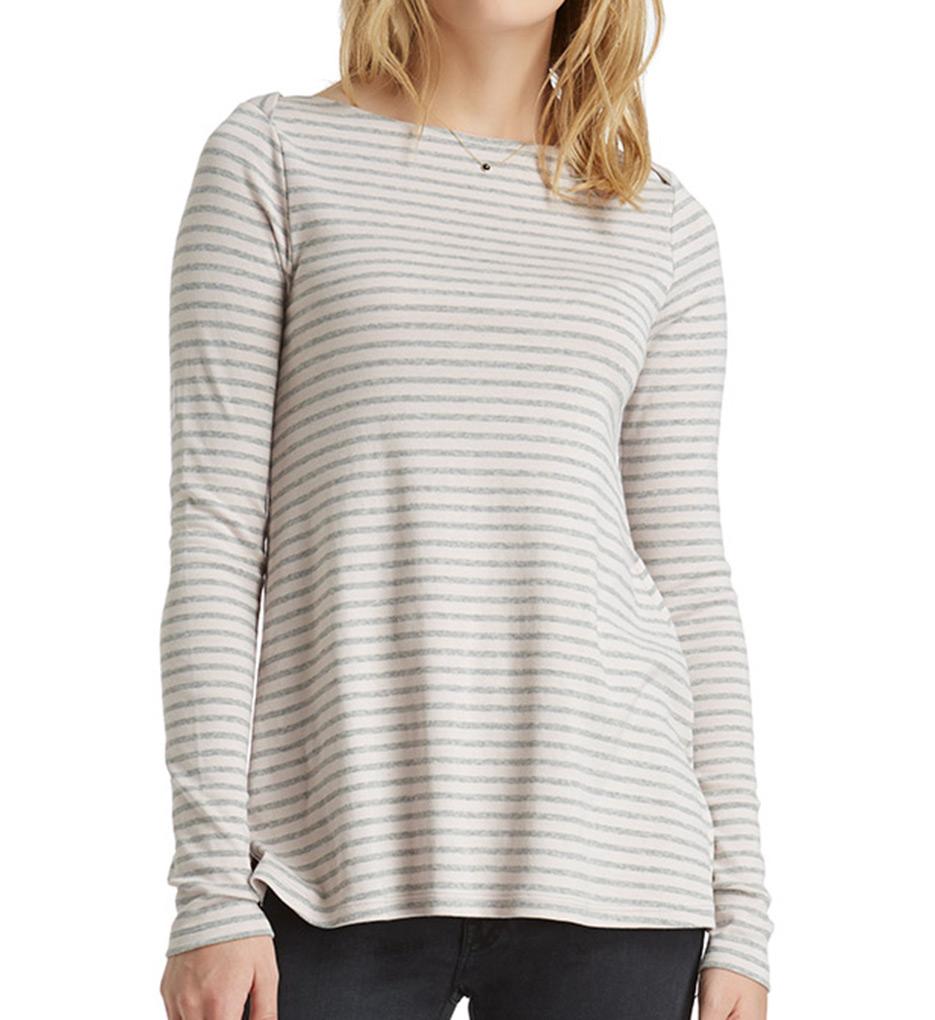 Three dots classic stripe long sleeve boat neck tee iv2343 for Three dots t shirts