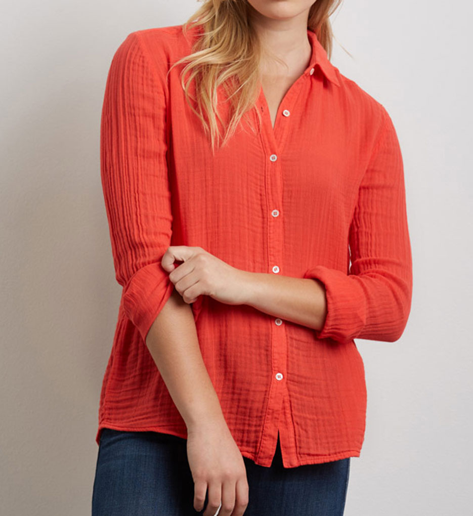 Three Dots Double Gauze Lynn Long Sleeve Shirt Ka2307