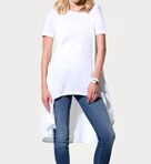 Three Dots Jersey Colette Short Sleeve Scoop High Low Top kd1092