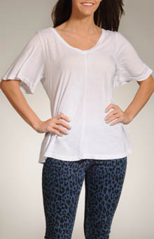 Three Dots Jersey Colette Half Sleeve Double V-Neck Top