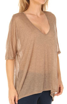 Three Dots Sheer Jersey 1/2 Sleeve V-Neck Draped Top