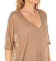 Three Dots Sheer Jersey 1/2 Sleeve V-Neck Draped Top KX160