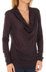 Three Dots Sheer Jersey Long Sleeve Cowl Neck Top KX2061