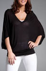 Three Dots V-Neck Sheer Jersey Top with Attached Cami KX4V068