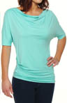 Three Dots Half Sleeve Draped Cowl Neck Top LD1041