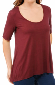 Three Dots Lightweight Viscose Half Sleeve Relaxed Hi Lo Tee