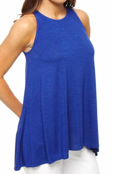 Three Dots Viscose Nouvelle A-Line Sweep Tank with Keyhole