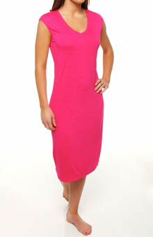 Three Dots Viscose Nouvelle Cap Sleeve V-Neck Shift Dress LE5161