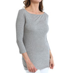 Three Dots 2X1 Mini Rib 3/4 Sleeve Boat Neck Top ND4064