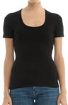 Three Dots 1X1 Short Sleeve Scoop Neck Tee st1S004