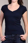 1x1 Cap Sleeve V-Neck Henley Tee