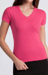 Three Dots 1x1 Short Sleeve Mid-V-Neck Tee st1v100