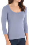 Three Dots 3/4 Sleeve Scoop Neck Tee st4s041