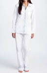 White Pajama Set with Aqua Piping