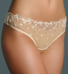 Duet Embroidered Flower Thong