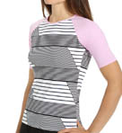 Slanted Stripes Short Sleeve Rash Guard Image