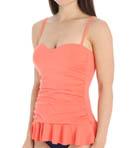 Pearl Solids Sweetheart Ruffle Tankini Swim Top Image