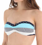 Bold Stripe & Mini Anchor V Bandeau Swim Top Image