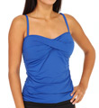 Pearl Solids Twist Front Foam Cup Tankini Swim Top Image