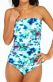 Watercolor Floral Shirred Bandeau One Pc Swimsuit Image