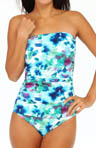 Tommy Bahama Watercolor Floral Shirred Bandeau One Pc Swimsuit TSW36115P