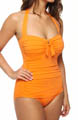Pearl Solids V Front Halter One Piece Swimsuit Image