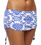Medallion Side Shirred Skirted Hipster Swim Bottom