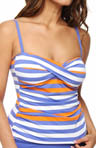 Stripe Twist Front Tankini Swim Top