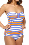 Stripe Shirred Bandeau One Piece Swimsuit
