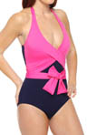 Deck Piping Halter Cup Wrapped One Piece Swimsuit