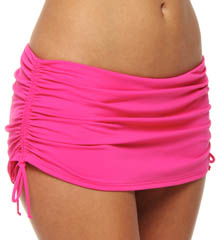 Pearl Solids Shirred Skirted Hipster Swim Bottom