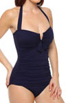 Tommy Bahama Pearl Solids V Wire Halter Cup One Piece Swimsuit TSW55921P