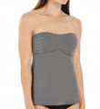 Pearl Solids Pleated Bandeau Tankini Swim Top Image