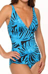 Tortola Leaf  Shirred Front One Piece Swimsuit