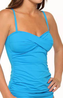 Pearl Solids Twist Front Foam Cup Tankini Swim Top