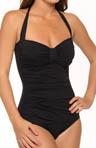 Pearl Solids Halter One Piece Center Tab Swimsuit