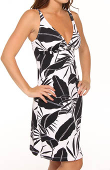 Palm V-Neck Swim Fabric Dress