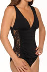 Lace Side Deep Neckline One Piece Swimsuit