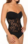 Tommy Bahama Lace Bodice Shirred Bandeau One Piece Swimsuit TSW74111P