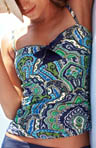 Taj Paisley Halter Tankini Swim Top With Front Tie