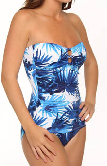 Plumeria Shirred Bandeau One Piece Swimsuit