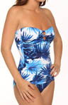 Tommy Bahama Plumeria Shirred Bandeau One Piece Swimsuit TSW75015P