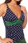 Dots & Stripes V-Neck Over Shoulder Tankini Top