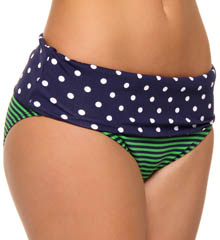 Dots & Stripes High Waist Wide Band Swim Bottom