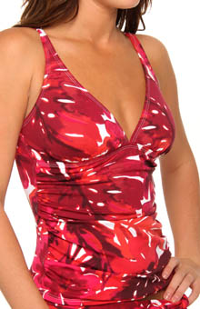 Big Red Hawaii V-Neck Over Shoulder Tankini Top