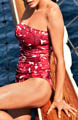 Tommy Bahama Big Red Hawaii Shirred Bandeau 1PC Swimsuit TSW75315P