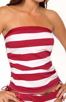 Rugby Stripe Adjust Side Ties Bandini Swim Top