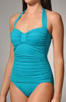 Pearl Solids One Piece Halter Swimsuit