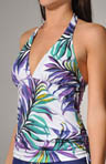 Starlight Palm Shirred Halter Tankini Swim Top